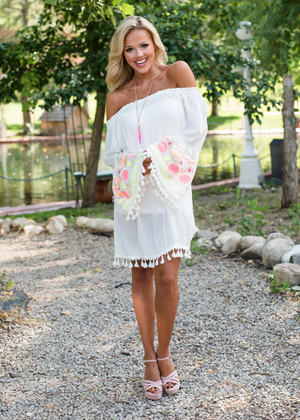 Craving You Off Shoulder Embroidered Dress White