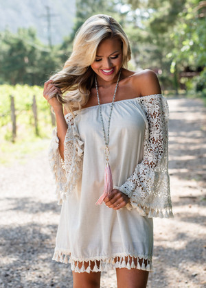 Could You Love Me Off Shoulder Lace Embroidered Dress
