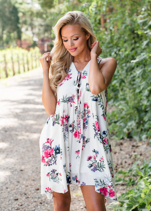 Would You Wait For Me Floral Tank Dress Ivory