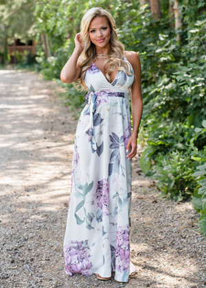 We Will Get There Floral Tie Maxi Dress Ivory