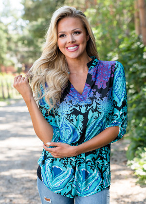 Get Ready For This Damask Top Turquoise