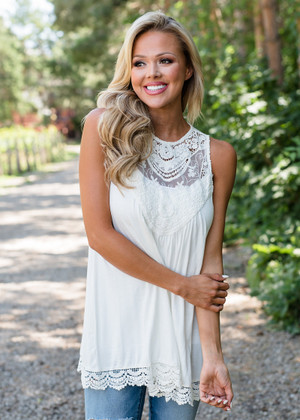 The Only Exception Lace Crochet Tank Off White