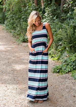 When You Were Mine Striped Maxi Dress Mint