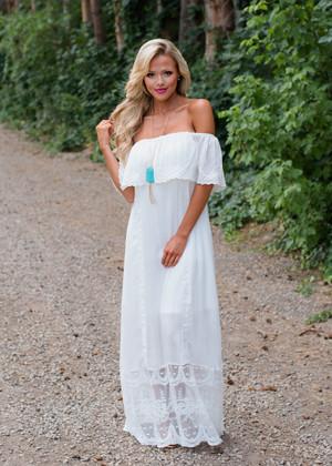 It Was You Off Shoulder Lace Maxi Dress White
