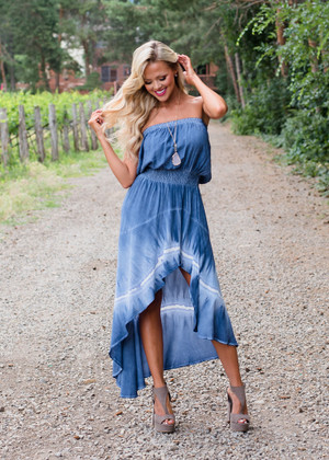 Honestly Amazing Tie Dye High Low Cinched Waist Dress