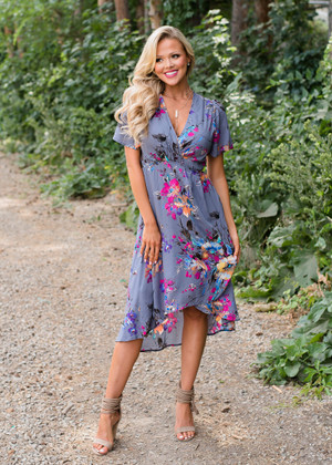 Fairytale Bliss Floral High Low Wrap Dress