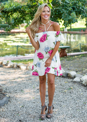 You're Not For Me Open Shoulder Dress Ivory