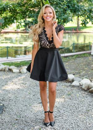 Never Alone Cap Sleeve Crochet Dress Black
