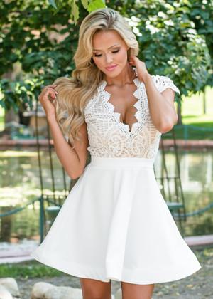 Never Alone Cap Sleeve Crochet Dress White