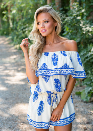 Reaching For You Floral Off Shoulder Romper White