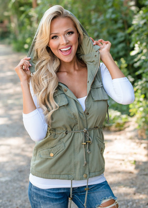 Never One To Lose Hoodie Vest Olive