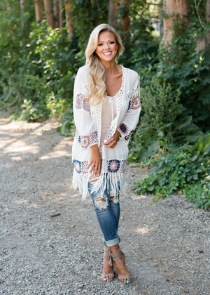 Never Too Old Crochet Fringed Cardigan Taupe