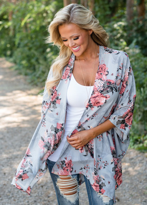 Always Yours Floral Kimono Dusty Blue