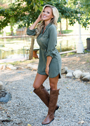 Olive Button Up Tie High Low Dress