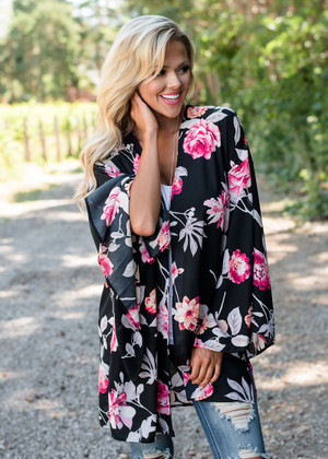 Wasted On You Floral Kimono Black