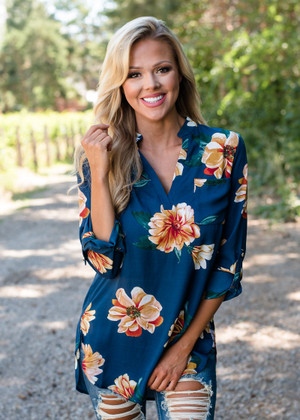 I Can Love You Better Floral High Low Top Navy