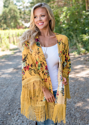 A Little Bit of Courage Floral Fringe Kimono Mustard
