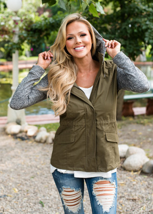 Mine to Lose Hooded Zip Up Jacket Olive/Gray