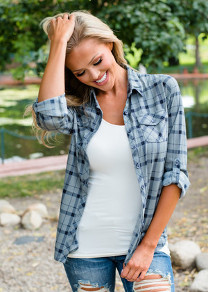 Roll Up Sleeves Button Up Plaid Top Gray