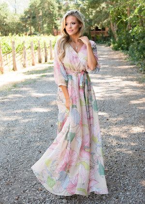Beautiful Soft Floral Tie Maxi Dress Taupe