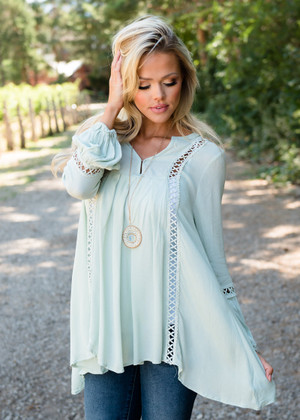 Mint Crochet Lace High Low Detailed Tunic Top