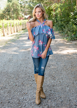 I Wouldn't Change a Thing Floral Off Shoulder Halter Top Blue