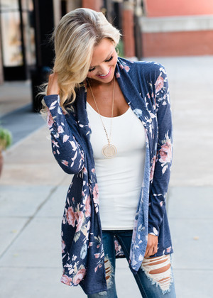 Soft Floral Open Cardigan Navy