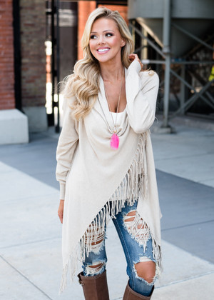 Super Cozy Fine Knit Poncho Fringed Wrap Cardigan Oatmeal