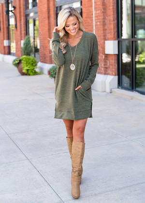 Solid Poly Spandex Sweater Tunic/Dress Olive