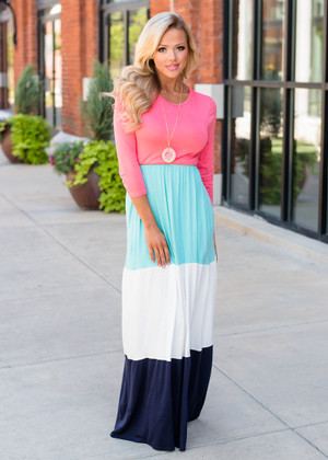 3/4 Sleeve Color Block Maxi Coral