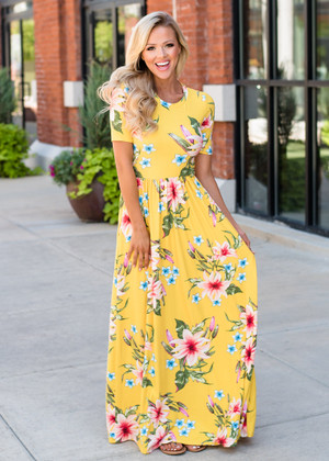 Where Are We Floral Half Sleeve Maxi Dress Yellow