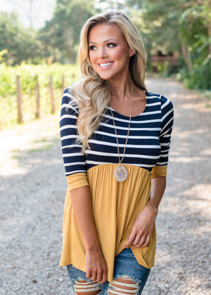 Stripes and Ruffles Top Navy/Mustard