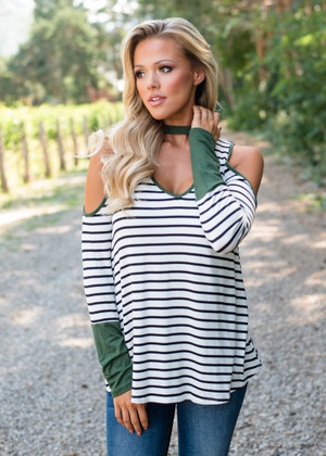 Striped Open Shoulder Choker Tunic Top Olive