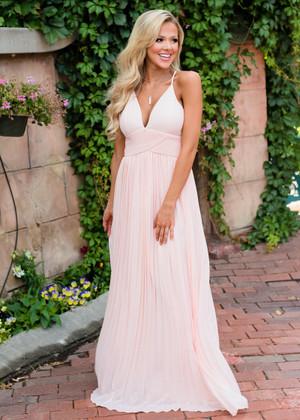 Like a Fairytale Long Pleated Maxi Dress Blush