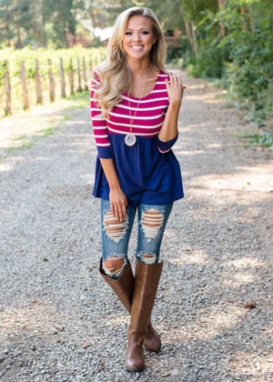 Stripes and Ruffles Top Navy/Burgundy