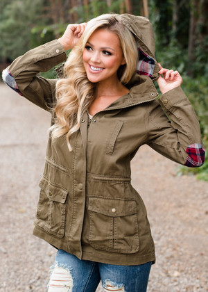 It Only Gets Better Drawstring Military Hooded Jacket Olive/Plaid