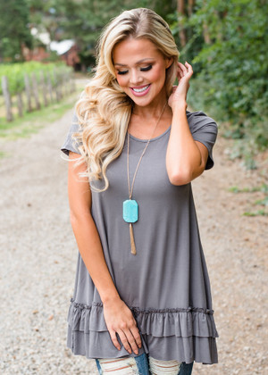 Perfectly Simple Ruffle Bottom Top Gray