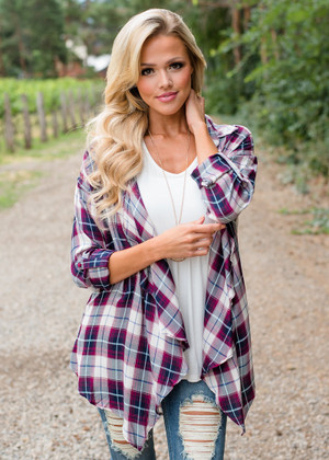 Open Ruffle Drape Plaid Cardigan Burgundy