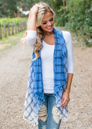 How I Want It Plaid Fringe Ombre Vest Blue