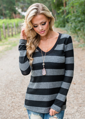 I'm With You Striped Fuzzy Sweater Black