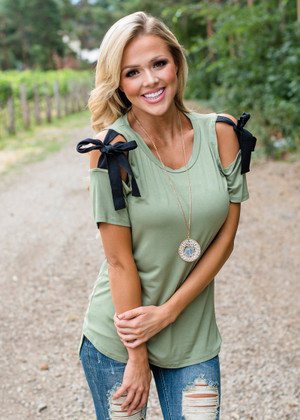 Cold Shoulder with Bows on Top Olive