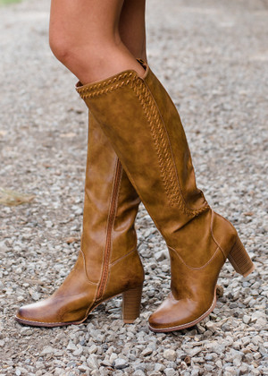 Say You Will Heeled Detailed Boots Tan