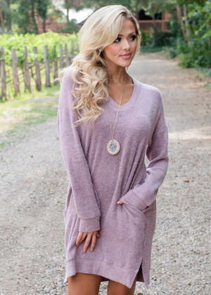 French Terry Knit Fabric Pocket Dress Light Mauve