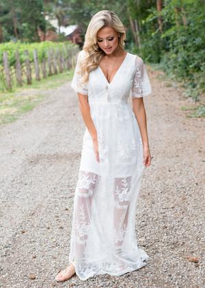 V-Neck Lace Detailed Maxi Dress Ivory