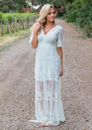 V-Neck Lace Detailed Maxi Dress Sage