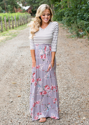 Striped 3/4 Sleeve Floral Tie Maxi Mocha