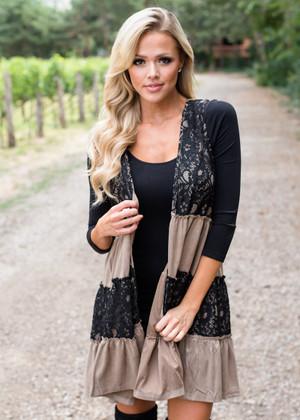 Tiered Lace Open Cardigan Vest Mocha/Black