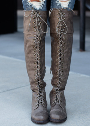 Hate To See You Go Tall Combat Boots Taupe Gray/Taupe