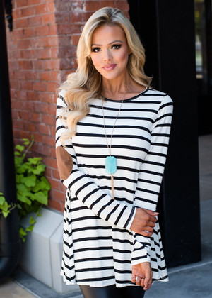 Stripe Elbow Patch Button Back Tunic Top Ivory/Black