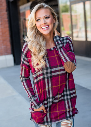 It's True Suede Elbow Patch Plaid Top Burgundy